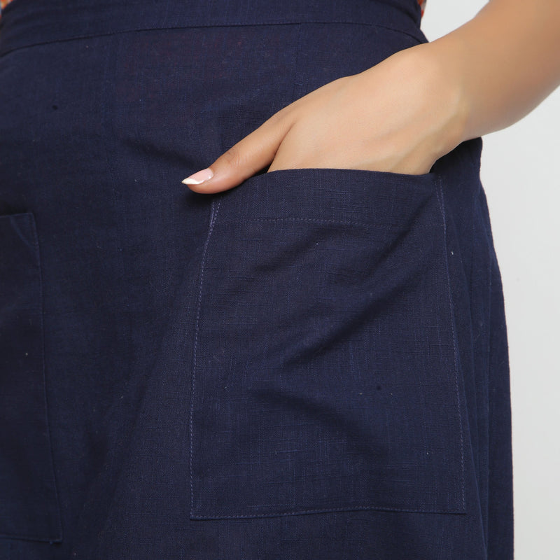 Left Detail of a Model wearing Navy Blue Cotton Flax A-Line Skirt