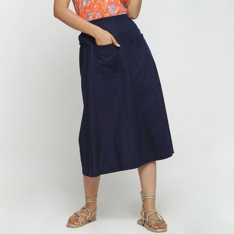 Front View of a Model wearing Navy Blue Cotton Flax A-Line Skirt