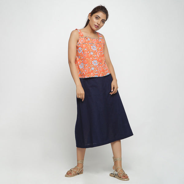 Front View of a Model wearing Navy Blue Cotton Flax Paneled Skirt