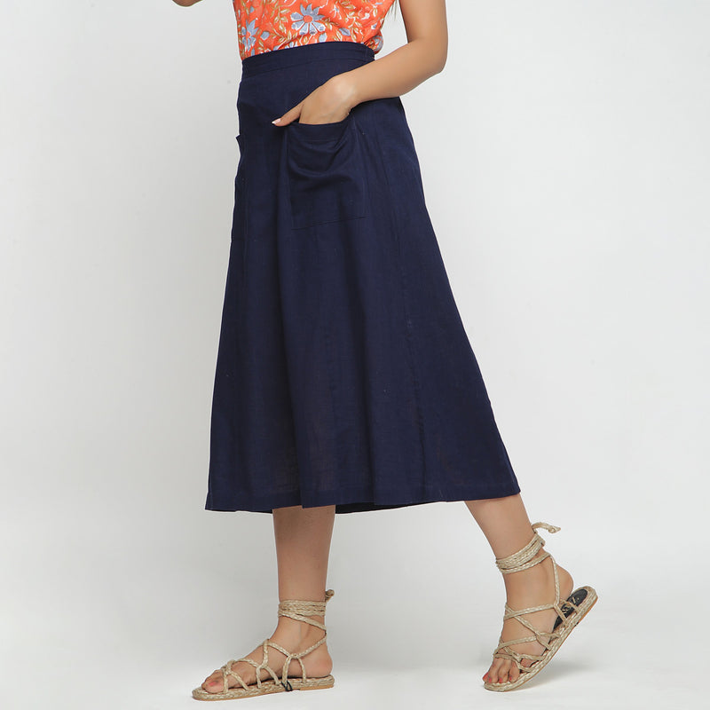 Left View of a Model wearing Navy Blue Cotton Flax A-Line Skirt