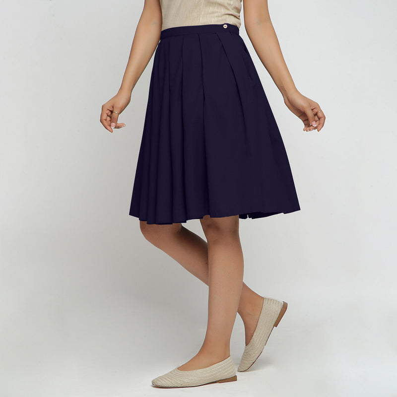 Left View of a Model wearing Navy Blue Cotton Flax Pleated Skirt