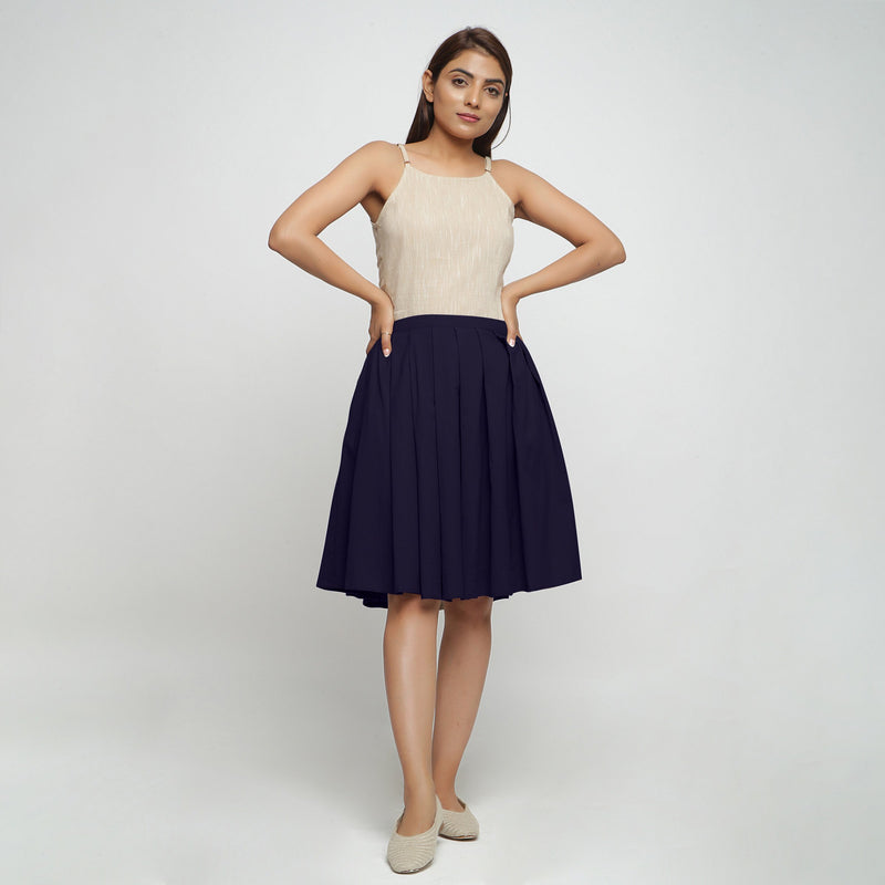 Front View of a Model wearing Navy Blue Cotton Flax Pleated Skirt