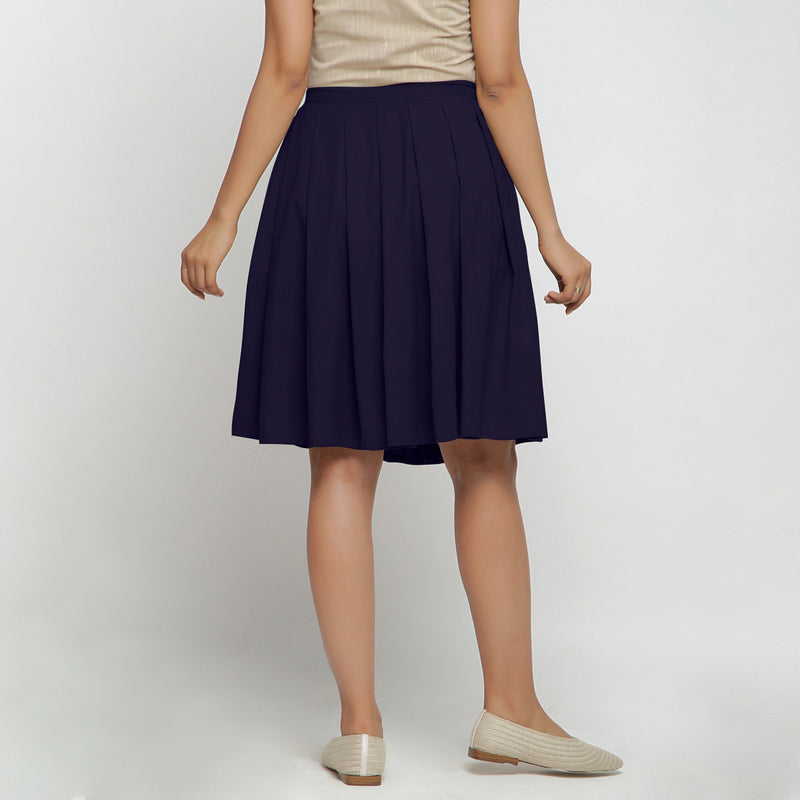 Back View of a Model wearing Navy Blue Cotton Flax Pleated Skirt