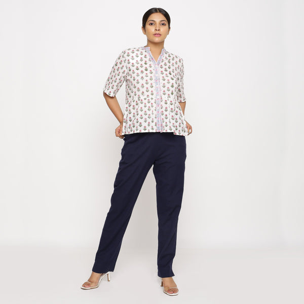Front View of a Model wearing Navy Blue Cotton Flax Straight Pant