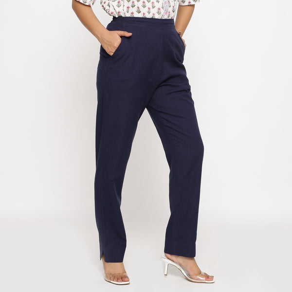 Right View of a Model wearing Cotton Flax Navy Blue Straight Pant