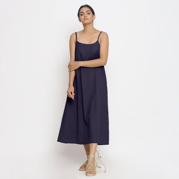 Navy Blue Cotton Flax Strap Sleeve A-Line Dress