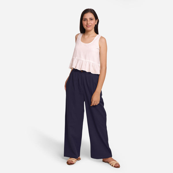 Front View of a Model wearing Navy Blue Cotton Flax Wide Legged Straight Pant