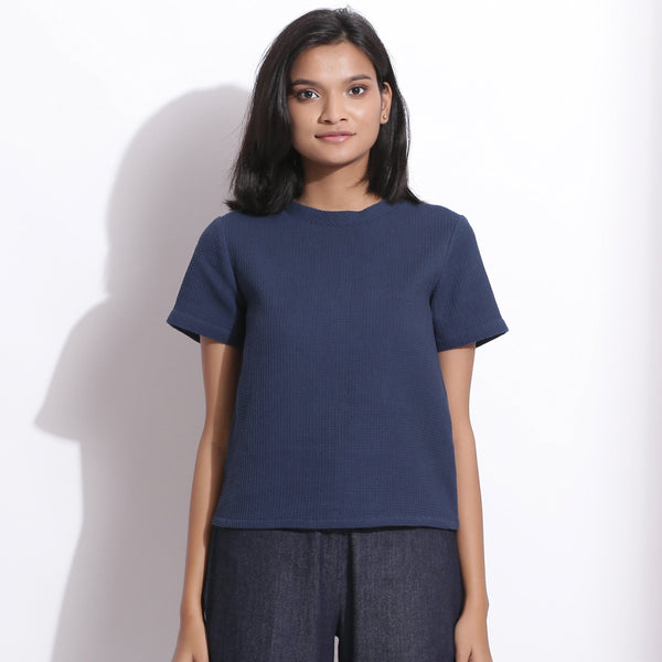 Front View of a Model wearing Navy Blue Cotton Waffle Woven T-Shirt
