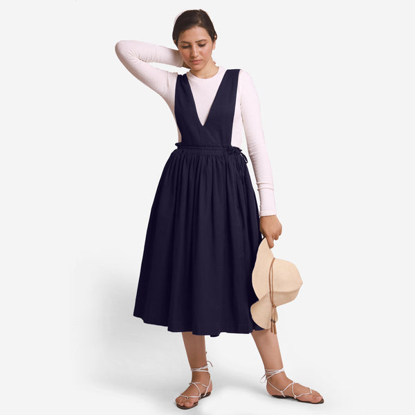 Navy Blue Deep Neck Pinafore Midi Wrap Dress