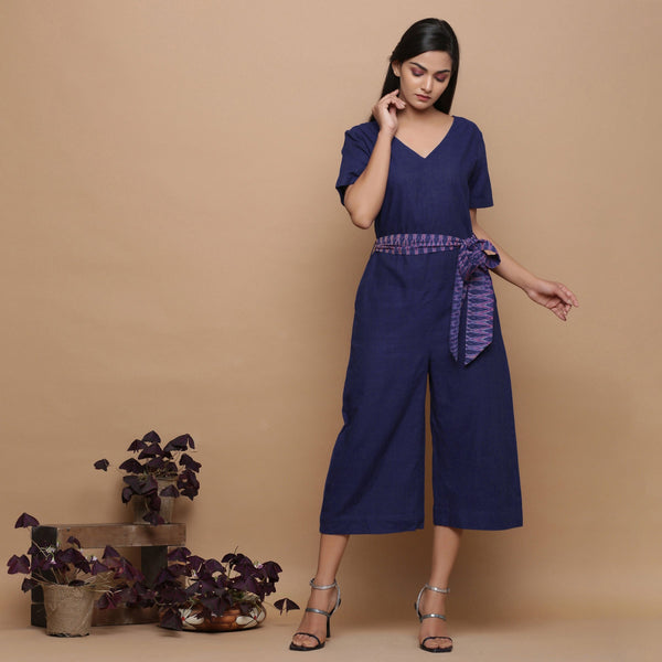 Front View of a Model wearing Navy Blue Handspun Ikat Straight Jumpsuit