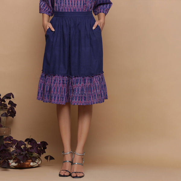 Front View of a Model wearing Navy Blue Ikat Handspun Tier Skirt