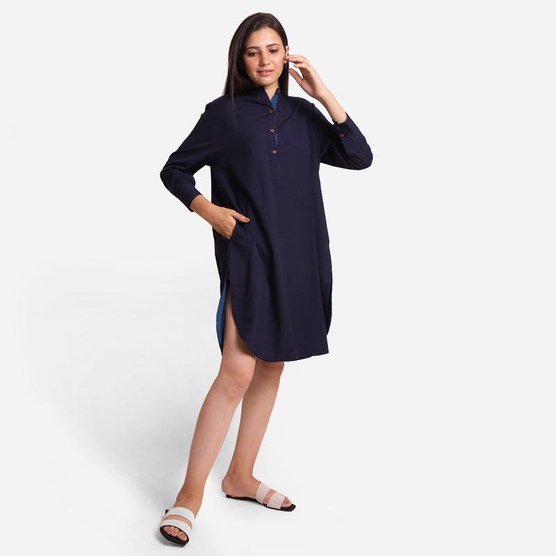 Front View of a Model wearing Navy Blue Cotton Flax Shirt Dress
