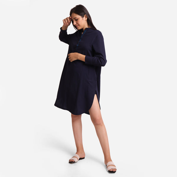 Left View of a Model wearing Navy Blue Cotton Flax Shirt Dress