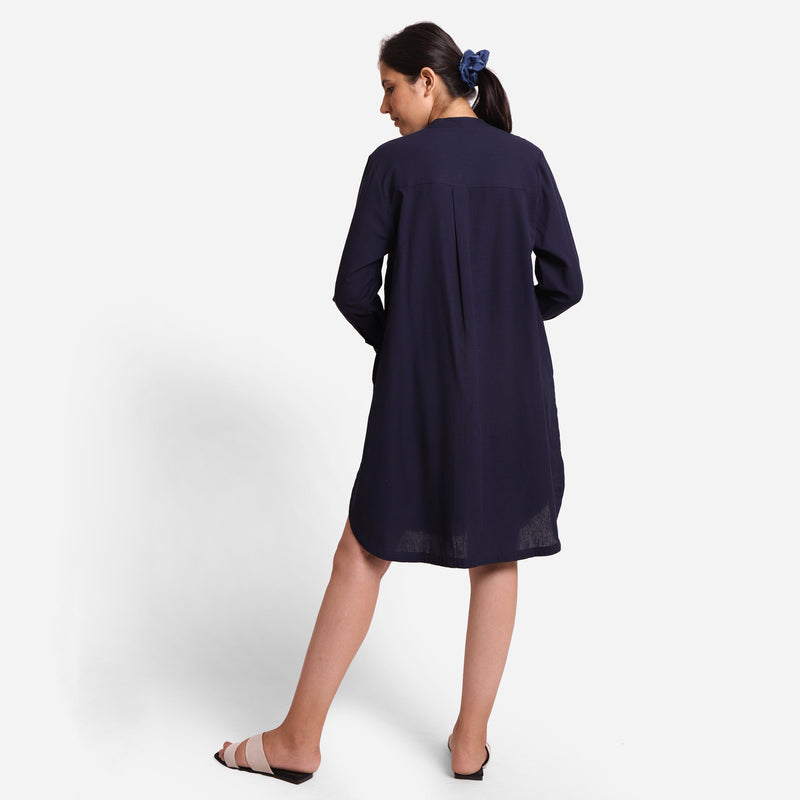 Back View of a Model wearing Navy Blue Cotton Flax Shirt Dress