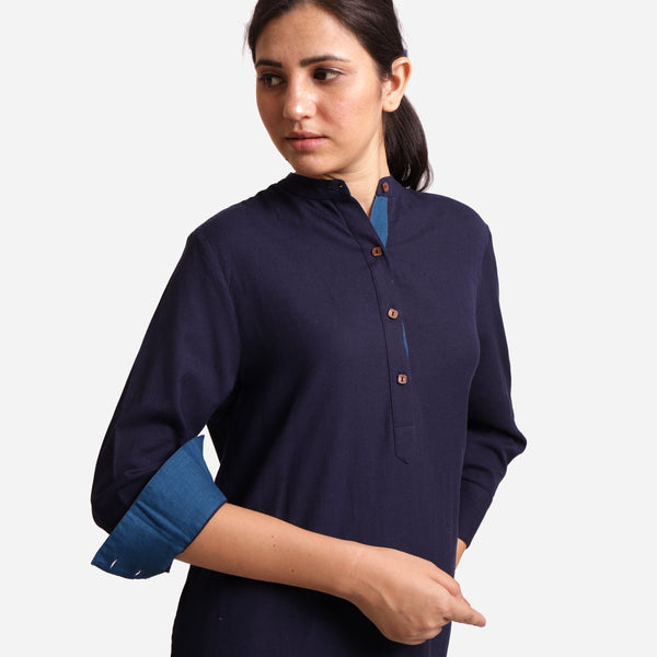 Front Detail of a Model wearing Navy Blue Cotton Flax Shirt Dress
