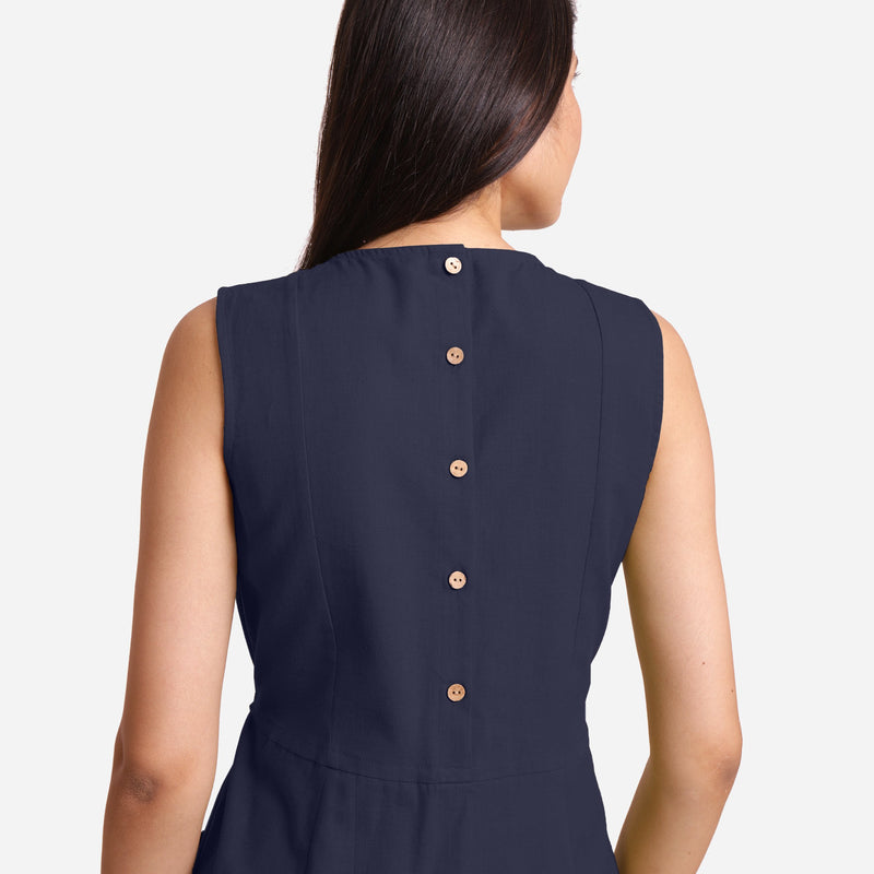 Back Detail of a Model wearing Navy Blue Patch Pocket Round Neck Dress