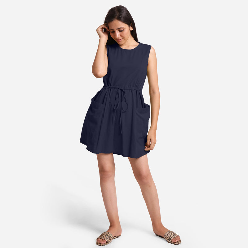 Front View of a Model wearing Navy Blue Patch Pocket Round Neck Dress
