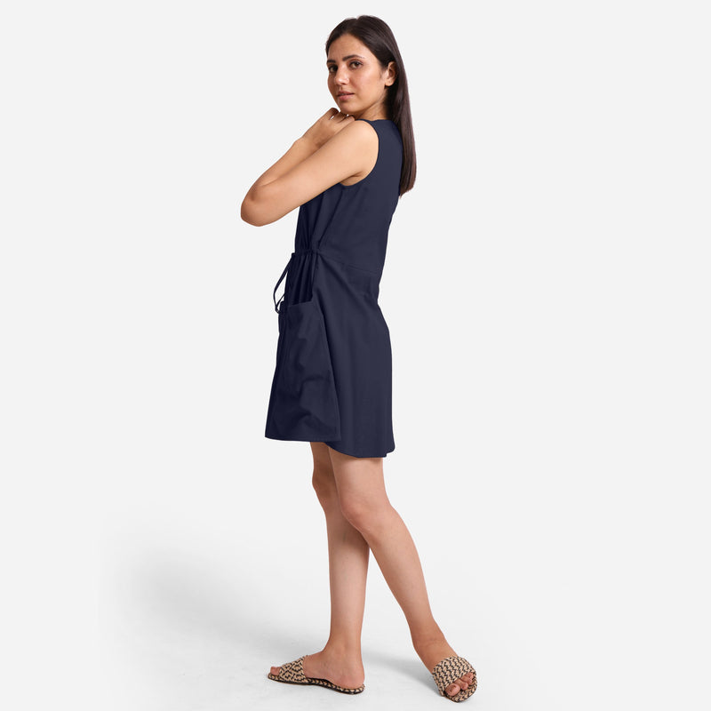 Left View of a Model wearing Navy Blue Patch Pocket Round Neck Dress