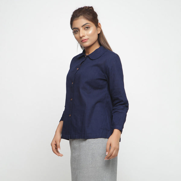 Left View of a Model wearing Solid Navy Blue Peter Pan Collar Shirt