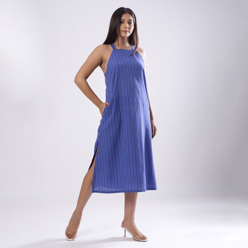 Front View of a Model wearing Navy Blue Handspun Slit Slip Dress