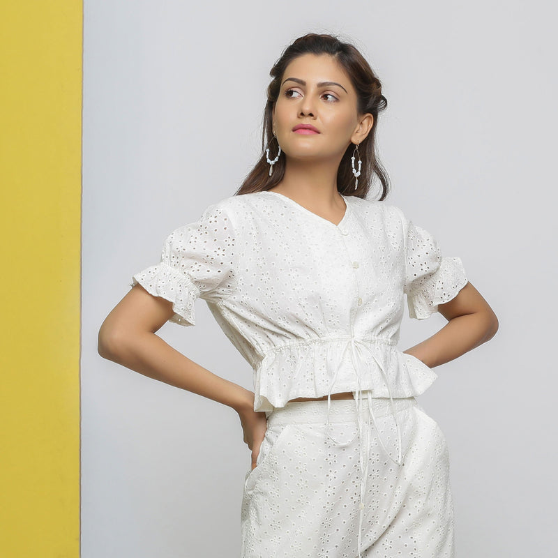 Front View of a Model wearing Off-White Cotton Schiffli Button-Down Top
