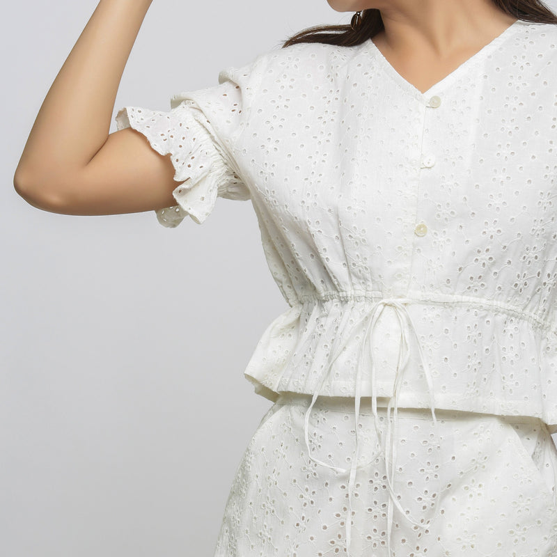 Front Detail of a Model wearing Off-White Cotton Schiffli Button-Down Top