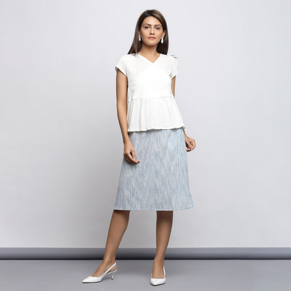 Front View of a Model wearing Off-White Crinkled Cotton Gathered Wrap Top
