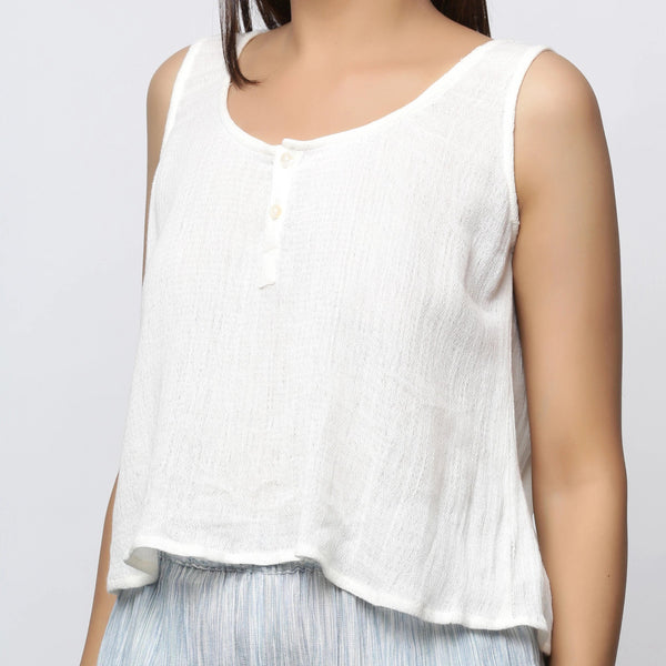 Front Detail of a Model wearing Off-White Crinkled Cotton Straight Top