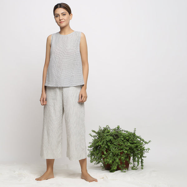 Off-White Flared Top and Handspun Culottes Set