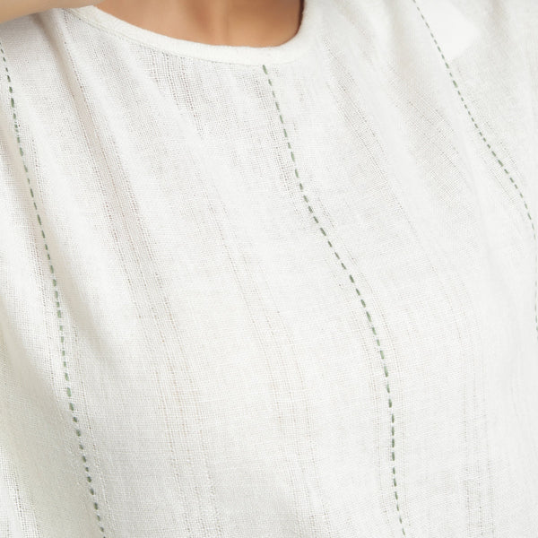 Front Detail of a Model wearing Off-White Hand Embroidered Tunic Top