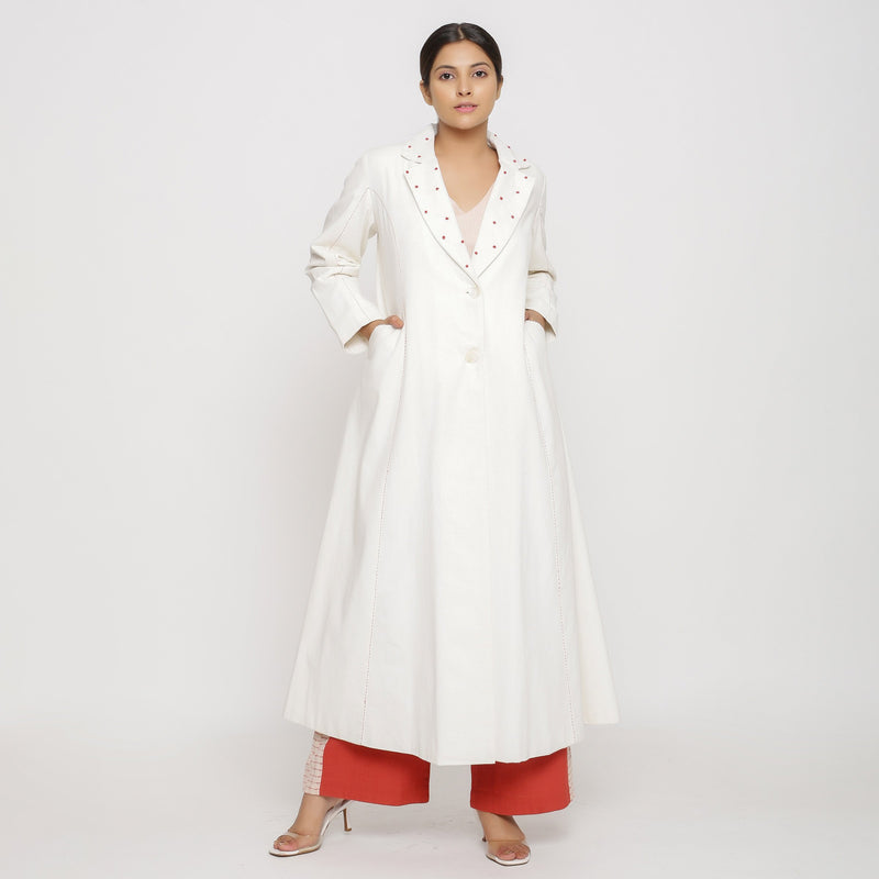 Front View of a Model wearing Off-White Hand Beaded Princess Line Overcoat