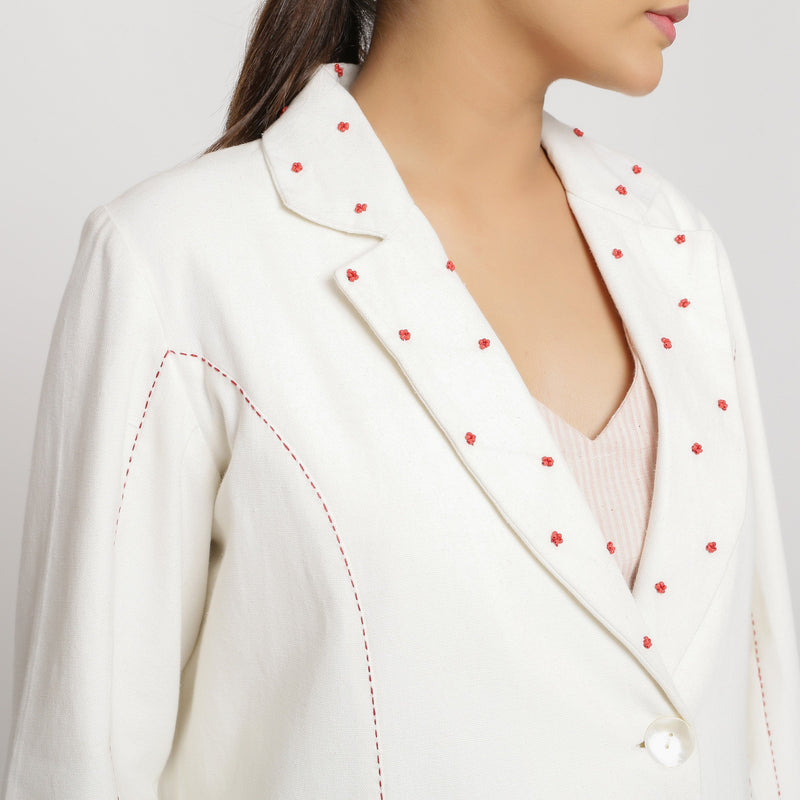 Front Detail of a Model wearing Off-White Hand Beaded Princess Line Overcoat