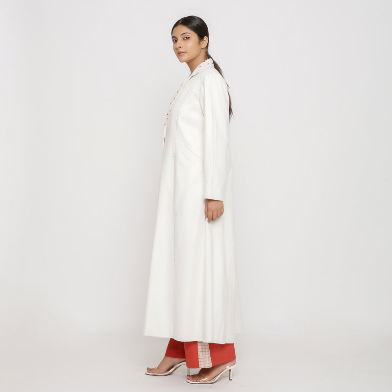 Left View of a Model wearing Off-White Hand Beaded Princess Line Overcoat