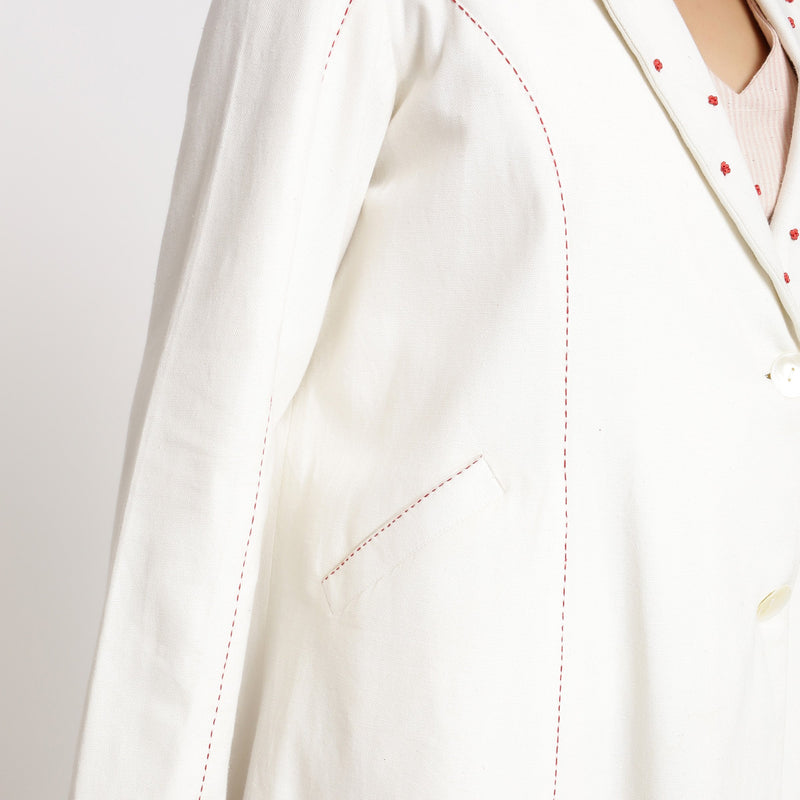 Right Detail of a Model wearing Off-White Hand Beaded Princess Line Overcoat