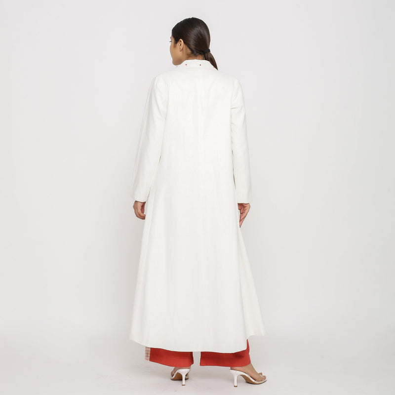 Back View of a Model wearing Off-White Hand Beaded Princess Line Overcoat