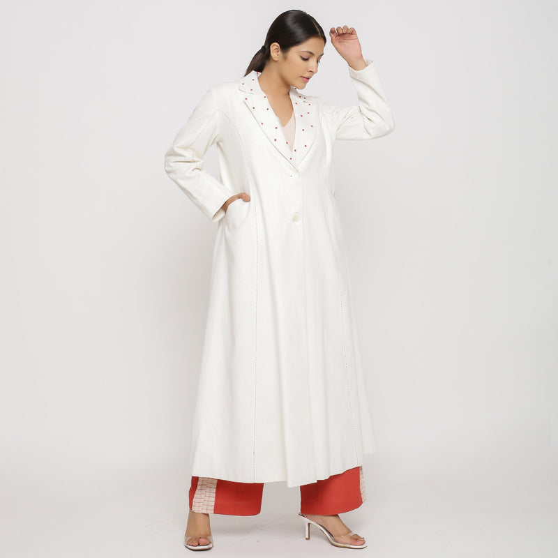 Right View of a Model wearing Off-White Hand Beaded Princess Line Overcoat