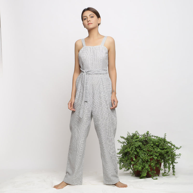 Front View of a Model wearing Off-White Handwoven Cotton Jumpsuit