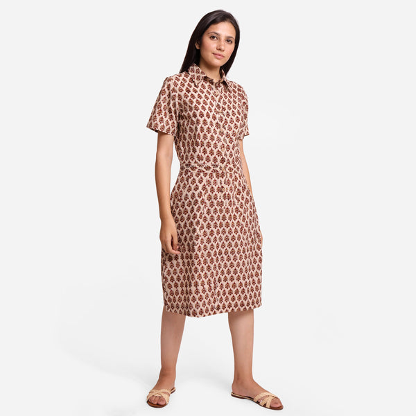 Right View of a Model wearing Beige Block Printed Cotton Shirt Dress