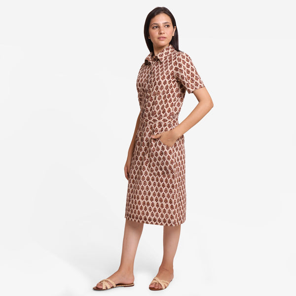 Left View of a Model wearing Beige Block Printed Cotton Shirt Dress