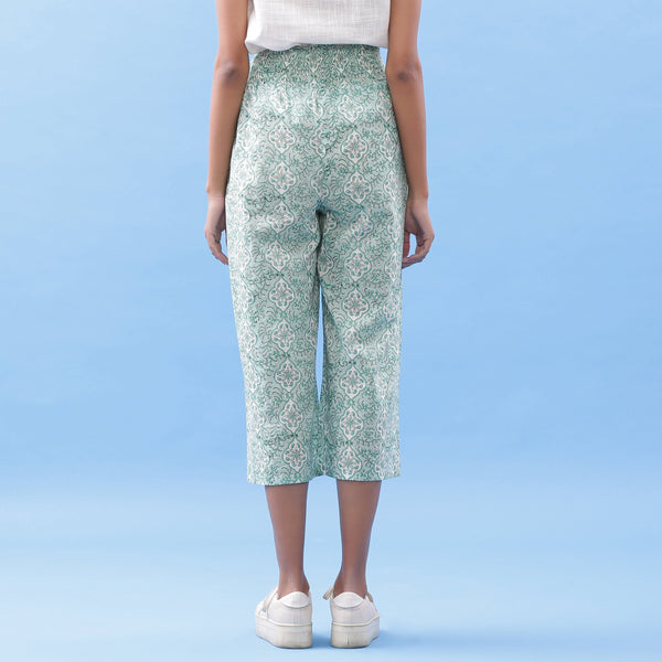 Back View of a Model wearing Hand Block Printed Green Elasticated Pant