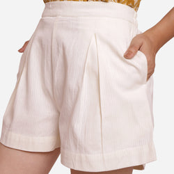 Front Detail of a Model wearing Off-White Striped Mid-Rise Shorts