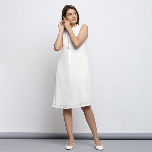 Front View of a Model wearing Off-White Button-Down Shift Dress