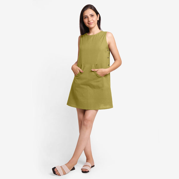 Front View of a Model wearing Olive Green Cotton Flax Kangaroo Pocket Dress