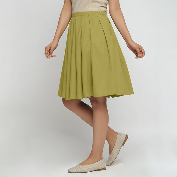 Left View of a Model wearing Olive Green Cotton Flax Pleated Skirt