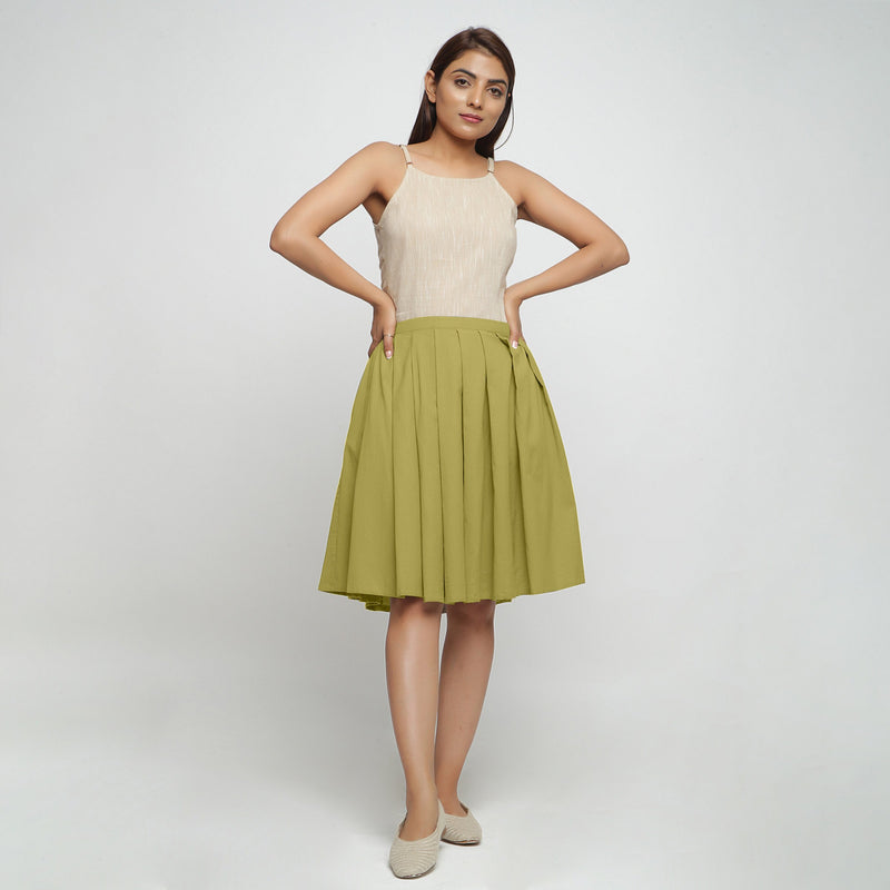 Front View of a Model wearing Olive Green Cotton Flax Pleated Skirt