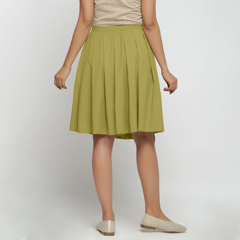 Back View of a Model wearing Olive Green Cotton Flax Pleated Skirt