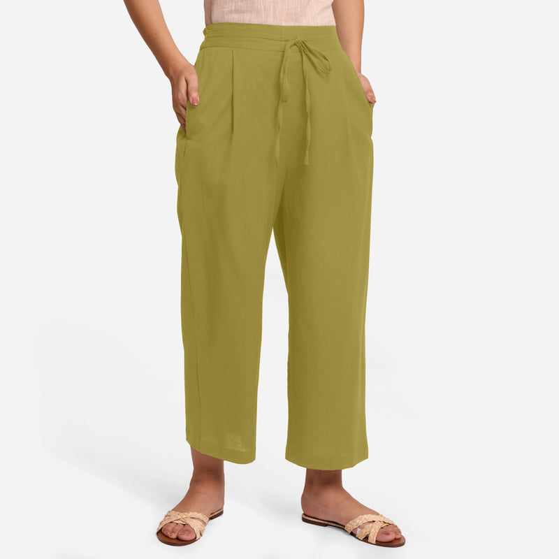 Front View of a Model wearing Olive Green Cotton Flax Wide Legged Pant