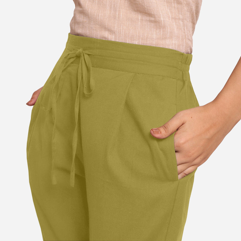 Front Detail of a Model wearing Olive Green Cotton Flax Wide Legged Pant
