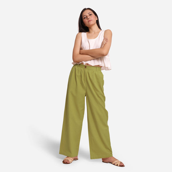 Front View of a Model wearing Olive Green Cotton Flax Wide Legged Straight Pant