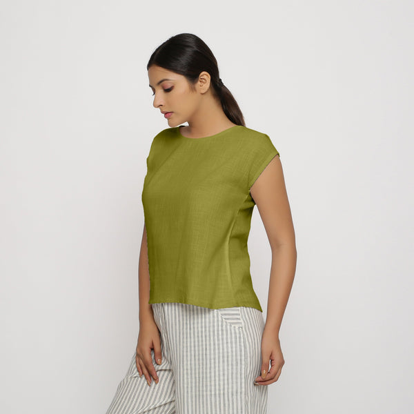 Olive Green Cotton Slub Straight Top